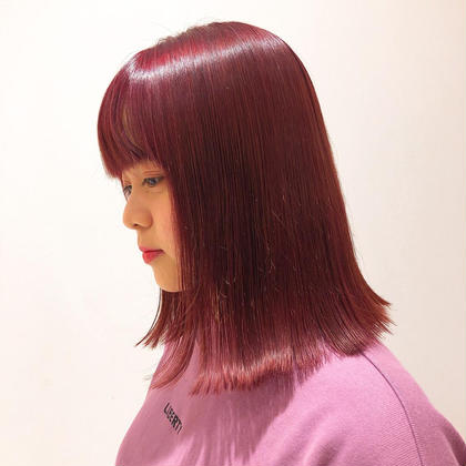 カラー セミロング 1ブリーチして レッドバイオレットcolorです。