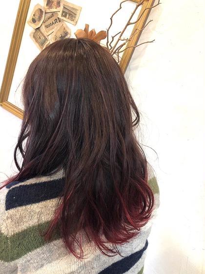 カラー セミロング グラデーションカラー❤️ ピンクパープルから裾は赤のグラデーションになってます😊