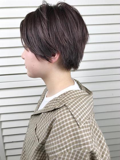 その他 カラー ショート パーマ ヘアアレンジ Real  salon work✂︎ 【 short / bleach /  gray purple 】 . ザクザクした質感のshort hair ✂︎ . グレーベースのムラサキ色で春感 .