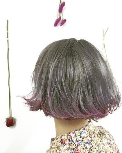 デザインカラー✖️ブリーチ✖️裾ピンクパープル チェルシーアパートメント所属・Fukuサロンオーナーのスタイル