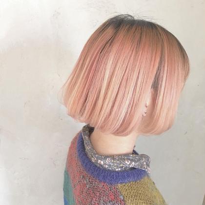 カラー ショート わざと根元は暗め♡ショートボブでもちょっとしたグラデーション♡pink  1bleach+イルミナcolor+TOKIOトリートメント♡