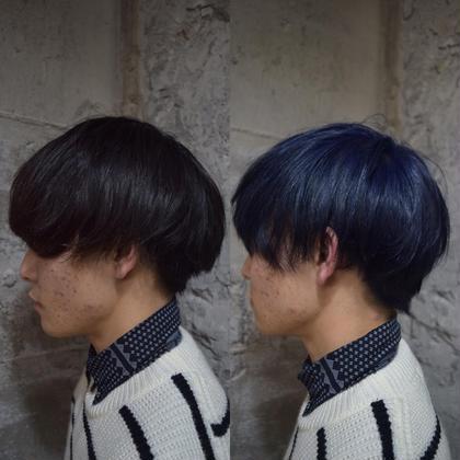 黒染めからone bleach on addicthy で美しいブルーに 高島一誠のメンズヘアスタイル・髪型