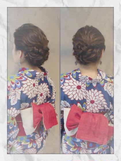 前髪もあげて、ルーズだけどまとまりのあるアップ* 着付けも粋な感じで仕上げています👘 可愛い〜粋まで、色々な帯の形があります(・∀・)   aries区役所2号店所属・☆松本夏美☆のスタイル
