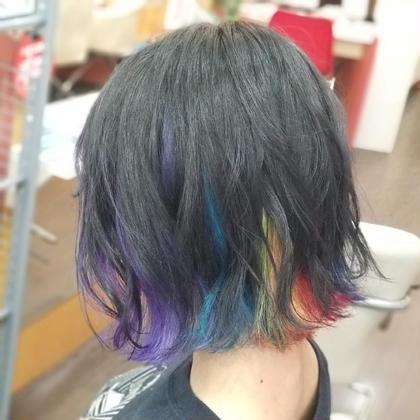 その他 カラー ミディアム インナー部分を1ブリーチして虹色のカラフルユニコーンをしました!!