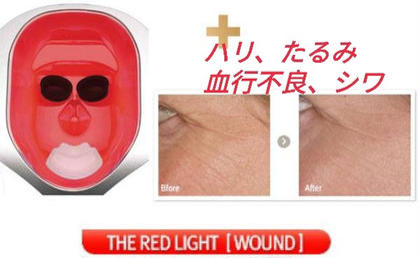 リタイム(美顔器)色別効果→レッド照射時間8分 真皮まで長く届き、コラーゲン等の土台を整える光!