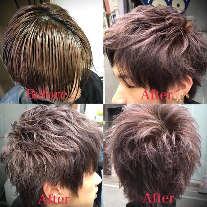 カラー ショート メンズ cut 長くて重かった髪をスッキリと。 前髪は上げても良し、下ろしても良し(^^) イマドキ風な束感スタイルのしやすいカット✂︎ . color 色は元の赤みを活かしたラベンダーアッシュ✨ ブリーチ毛なので透明感⭕️⭕️⭕️