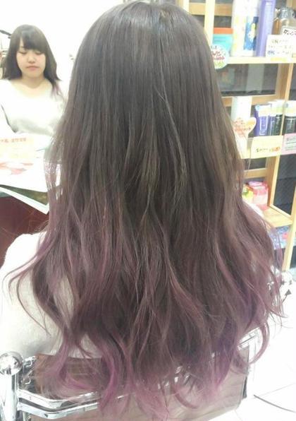 カラー セミロング ロング ほんのり紫のグラデーションカラー