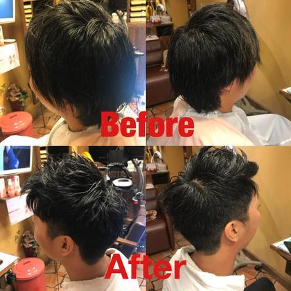 メンズアシメスタイル 右サイドはソフトモヒカン風に刈り上げ、 前髪を上げて左サイドのツーブロックに繋ぎました(^^) 美容室 K-1所属・山口卓恭のスタイル