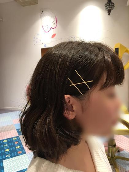 トップにレイヤーをいれた、髪が弾む重軽なボブ。金ピンはご希望であれば差し上げます。(数に限りがございます) Hair works eight.co所属・興野純のスタイル