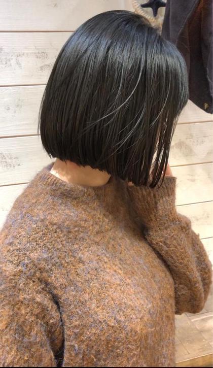その他 カラー ショート ヘアアレンジ 【 ブルージュカラー 】  黒髪のブルージュカラー☺️  暗くても重く見えないのが特徴でとても人気です🌟  イルミナカラーのアッシュを使ってブリーチなしで柔らかい質感と淡い色味が軽やかな雰囲気を引き出してくれますよ☺️