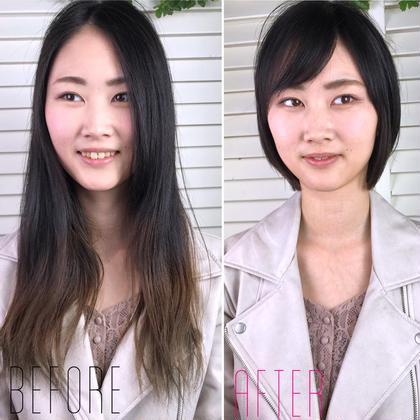 その他 カラー ショート パーマ ヘアアレンジ Real  salon work✂︎ 【 image change 】 . before → after . ロングからバッサリ✂️ 多毛やクセあっても任せて下さい☆ . . . #NAKAIstyle #ビフォーアフター#ショートヘア