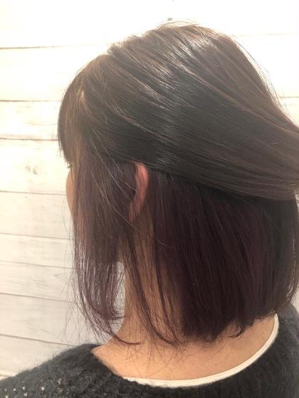 カラー ミディアム インナーカラー 紫