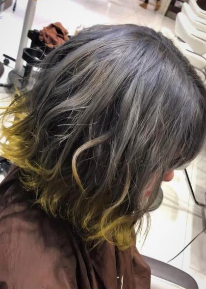 ・ブリーチあり ・裾カラー ・シルバー×ネオンイエロー 絶対にカワイイ裾カラー!! HAIR&MAKE AXIS所属・小野 厚稀のスタイル