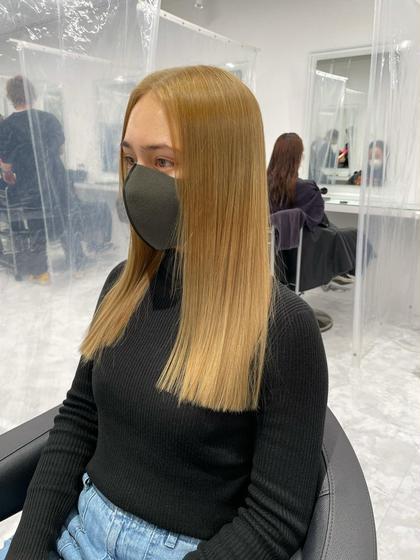 🍀ミニモ限定🍀🍀ダブルカラー髪質改善🍀ダブルカラー(ブリーチ+ワンカラー)+髪質改善トリートメント