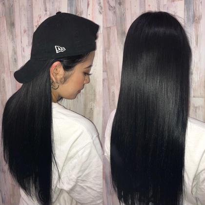 黒髪ロングでツヤ感UP↑↑夏は意外に黒髪人気が急上昇★  アプリ登録のお客様は仕上げの巻き髪無料サービス♪