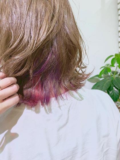 切りっぱなしボブに、インナーカラーはパープルとピンクの2色🍇