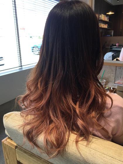 カラー ヘアアレンジ ロング グラデーションスモーキーピンク