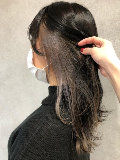 🧡🌈 cut + インナーカラー(1ブリーチ+オンカラー全体)