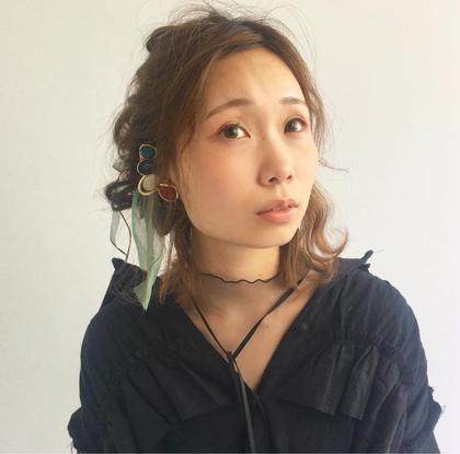 ミディアム丈のハーフアレンジ♪ clover   field所属・佐藤舞のスタイル