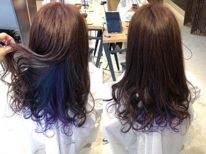 ブルーとパープルの2色を ランダムな配色でインナーカラーさせていただきました✨  お時間かかってしまい申し訳ございませんでした😭 ご来店ありがとうございました😊 axia大和田店所属・村上夕稀のスタイル