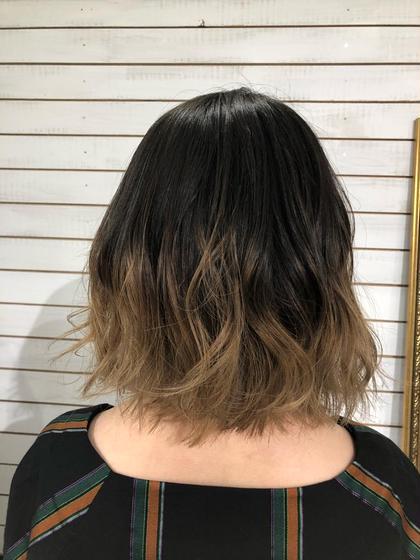 カラー ショート ヘアアレンジ 毛先だけグラデーションのダブルカラー 上部分は地毛を残してます☆
