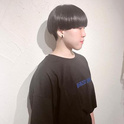目上ギリギリのマッシュショート♡ バックは刈り上げでスッキリ Kimuramaiのショートのヘアスタイル