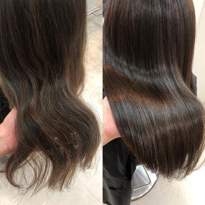 髪質改善で劇的before→after ふわふわからまとまりのある髪へ。