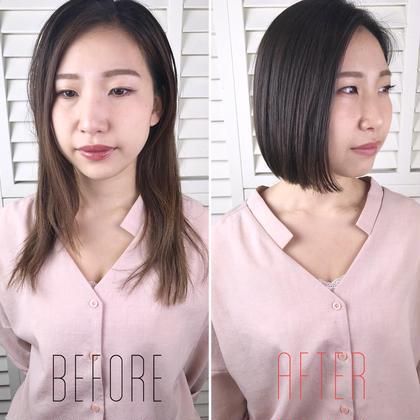その他 カラー ショート パーマ ヘアアレンジ Real salon work💈 【 before → after 】 . バッサリcut✂️ 首周りスッキリショートボブに✯ . 髪の傷みも一気にサヨナラ👋🏻 夏に向けてお洒落にバッサリいきましょう🍃 . . バッサリいくのが不安な方は イメージと現状の長さの中間の長さに挑戦するとイイと思いますよ◎ . まずは相談。イメージを共有して切りましょう☆ . . #NAKAIstyle #バッサリカット#ショートボブ