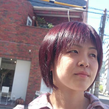 """自然光による赤髪のツヤ‼ 室内では実は暗く見えてしまいます"""""""" OASIS hair mode所属・山岡莉帆のスタイル"""