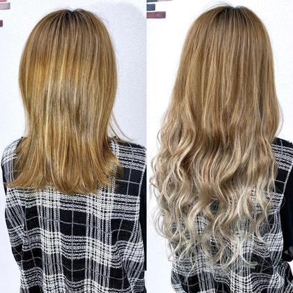 ベージュからホワイトアッシュのグラデーション☆髪のダメージが気になる方はエクステでグラデーションも出来るのでオススメです♪  アプリ登録のお客様は仕上げの巻き髪無料サービス♪