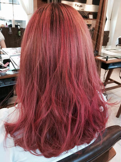 カラー ロング ベイビーピンクのハイトーンカラー!