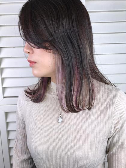 その他 カラー パーマ ヘアアレンジ ミディアム Real  salon work✂︎ 【 inner hilight / pink lavender 】 . インナーハイライトに ヴィヴィッドな色味を 仕込むのイイ感じ** . オレンジとかもオススメ☆ . . . #NAKAIstyle #インナーハイライト#インナーカラー#ピンクラベンダー#デザインカラー