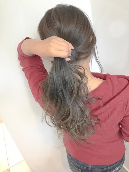 アディクシーカラー ミルクティーベージュ 片岡達紀のセミロングのヘアスタイル