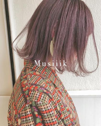 ボブと秋のピンクラベンダー Musiiikhairのショートのヘアスタイル