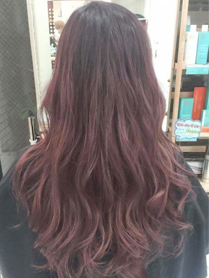 カラー セミロング ロング ピンクパープルカラー