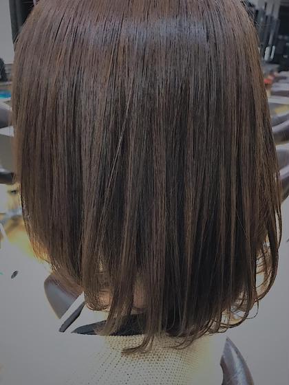 カラー ミディアム ワンレンボブスタイル 顔周りは立体感を出すためにレイヤーを! アイロン170°内巻き 家で出来る簡単なスタイリング! 冬おすすめのスタイルです!