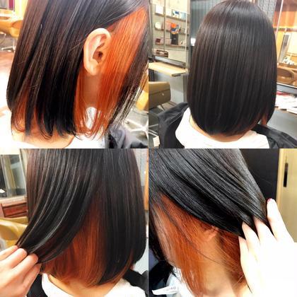 カラー ミディアム イメチェンヘア🕺✨ マニキュア使わず春夏に向けてオレンジに( ¨̮ )︎💕︎ グリーンヘアで御来店😳🔆 ブリーチ1回でグリーン落としてオンカラー✨ 表面の髪も黒髪からほんのり柔らかいダークブラウンに🐣💓 ブリーチ必須のヘアーです🌈🌈🌈 ブリーチは別途+4320~から施術可能ですᕕ( ᐛ )ᕗ✨