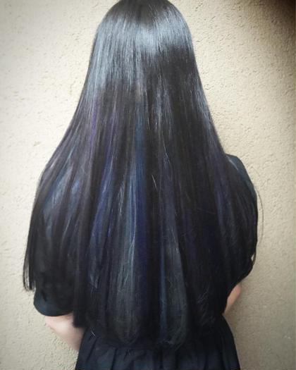 その他 カラー キッズ ネイル パーマ ヘアアレンジ マツエク・マツパ メンズ ロング 黒髪ベースにブルー、バイオレット、ブルーシルバー