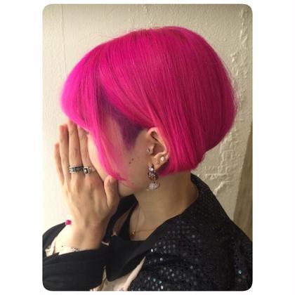 カラー ショート セミロング ミディアム メンズ ロング ビビっとなピンク  刈り上げにショッキングパープル