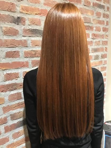 #オレンジ ミヤノルミカのロングのヘアスタイル