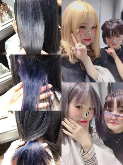 シルバーからのインナーは青と紫♡ブリーチ必須 関口三都季のヘアカラーカタログ