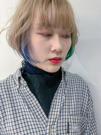 カラー 計算して入れるインナーカラーは 耳にかけなくても見えるくらいの絶妙なバランス! 冬のくらい服にはえます! #インナーカラー#イルミナカラー