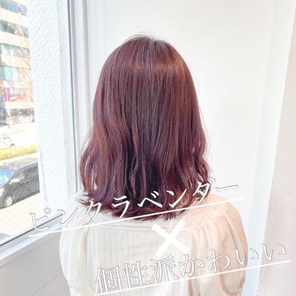 💗ブリーチありピンクラベンダーカラー💗髪質改善トリートメント💗ブリーチ毛なのに抜群のツヤサラ感✨ ピンクカラー✨