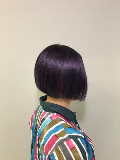 ブリーチオンカラー ディープヴァイオレット hair&makeup miq所属・今村圭佑のスタイル