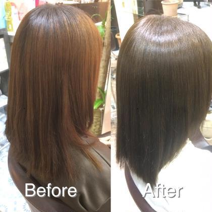 スモーキーアッシュグレージュ✨ ・ ・ 赤みを抑えてアッシュの色味を濃く入れることで深みが増しスモーキーな色味と質感に! 髪質改善トリートメントで広がりも抑えます beauty and care CALON所属・松田力丸のスタイル