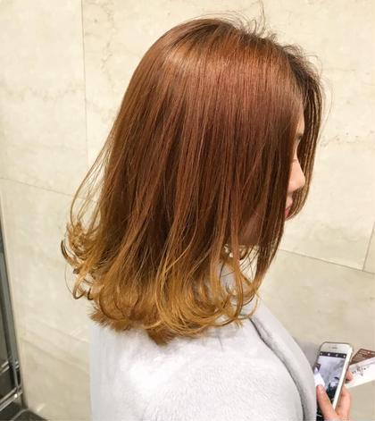 裾カラー オレンジベージュからのイエロー CHERIEhair design所属・ヤマモト徹のスタイル