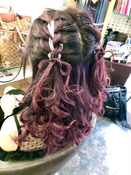 #LIVEヘアセット#編み込みツイン#リボン#イベント   ⚠️盛り髪のオーダーは、受け付けしておりません‼️ KonishiErinaのヘアアレンジ