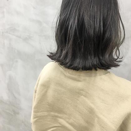 カラー ミディアム トレンドの透け感カラーにボブ❤︎ #切りっぱなしボブ#イルミナカラー
