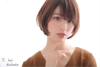 小顔効果抜群ひし形ショートボブ☆ F.所属・F.〜エフ.〜中崎町のスタイル