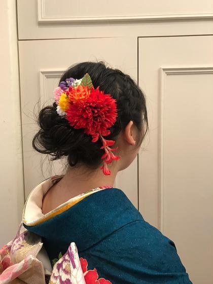 カラー セミロング パーマ 編み込みヘアセット   #卒業式#成人式#結婚式